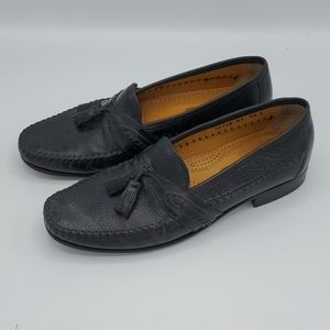 Black Tasso Elba Zinfandel Slip On Tassel Loafers
